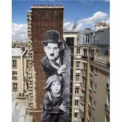 JR - wall 2 view from Hotel Paradisio - mk2 Paris