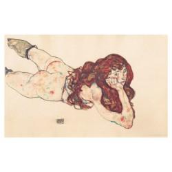 Egon Schiele - Auf_dem_Bauch_liegender_weiblicher - 1917_pa_pmas