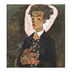 Egon Schiele - autoportrait au gilet - 1911
