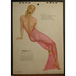 Alberto Varga - Calendar Page January 1948 Blond Sheer Pink