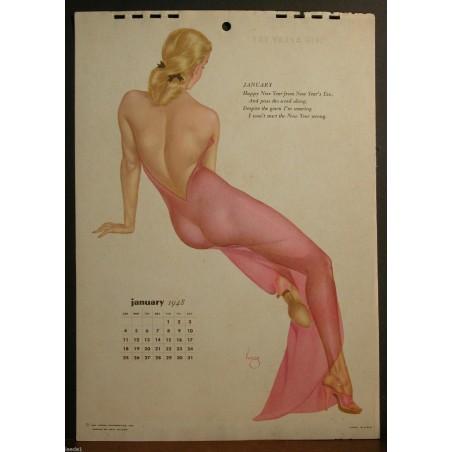 Alberto Varga - Calendar Page January 1948 Blond Sheer Pink