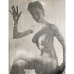 Erwin Blumenfeld - Nude waving behind perforated screen