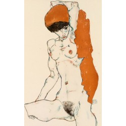 Egon Schiele - Standing Nude with Orange Drapery