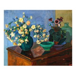 Axel Nilsson - Flowers with a Blue Background