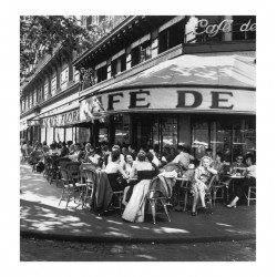 Robert Cpapa - Cafe de Flore Paris - place Saint Germain des pres - Paris 1952_ph_mast_vint_bw