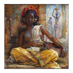 Willem Gerard Hofker  - Voor de tempel ingang - Sitting at the temple entrance  - Ni Gusti Compiang Mawar 1945_pa_clas_nude