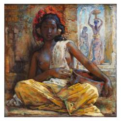 Gerrit Jan Hofker - Voor de tempel ingang - Bali 1945_pa_vint_nude