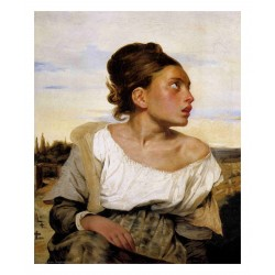 Eugene Delacroix - Girl Seated in a Cemetery - 1824