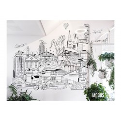 A mile in the woods - drawn mural for Modus