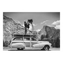Ansel Adams - Standing on car - Ahwahnee Meadow Yosemite_ph_mast_land_bw_vint
