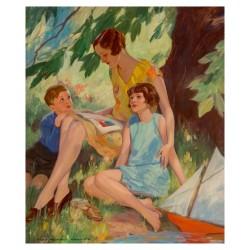 John Newton Howitt - Mother and Children Under a Tree